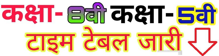 Rajasthan Board 8th Time Table 2021 -राजस्थान 8वी कक्षा टाइम टेबल 2020 डाउनलोड
