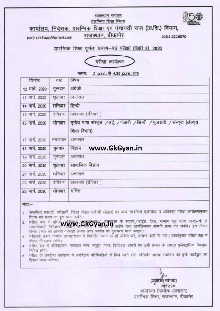Rajasthan Board 8th Time Table 2021 -राजस्थान 8वी कक्षा टाइम टेबल 2021 डाउनलोड