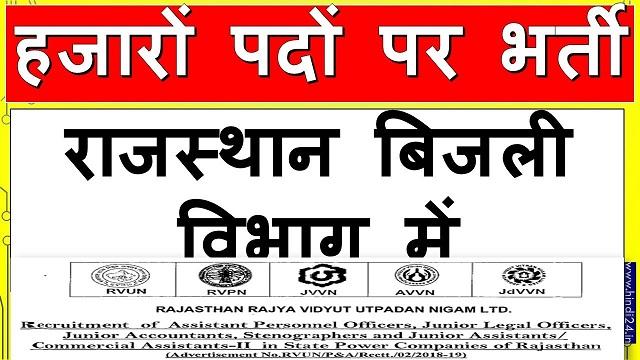 Rajasthan Vidyut Vibhag Recruitment 2020 - बिजली विभाग में हजारों पदों पर भर्ती