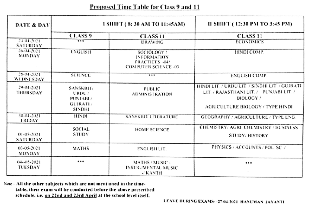 Rajasthan 9th & 11th class time table 2021